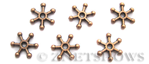 BM Animal Beads <b>9mm</b> Antique Copper Tone snowflake (12-pc-bag) per   <b>5 Bags</b>