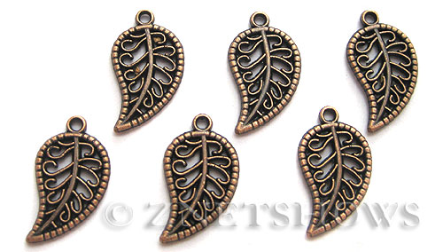 Base Metal Charms <b>19x10mm</b> Antique Copper Tone elm leaf (12-pc-bag) per   <b>5 Bags</b>
