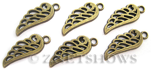 Base Metal Charms <b>24x10mm</b> Antique Brass Tone angel wing (8-pc-bag) per   <b>5 Bags</b>