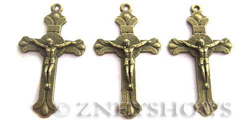Base Metal Charms <b>39x23mm</b> Antique Brass Tone Jesus Crucifix Cross (4-pc-bag) per   <b>5 Bags</b>