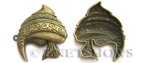 BM Animal Beads <b>38x35mm</b> Antique Brass Tone fish (2 pcs per bag) per   <b>5 bags</b>
