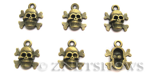 Base Metal Charms <b>14x12mm</b> Antique Brass Tone (8-pc-bag) per   <b>5 Bags</b>