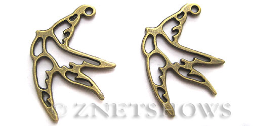 Base Metal Charms <b>34x27mm</b> Antique Brass Tone swallow (5-pc-bag) per   <b>5 Bags</b>