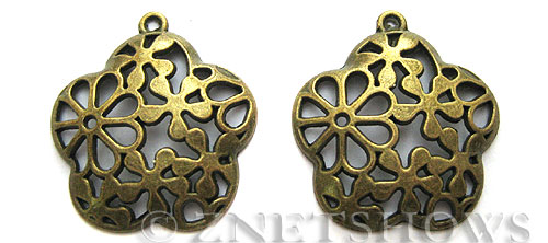 Base Metal Charms <b>35x31mm</b> Antique Brass Tone 5 petal (2-pc-bag) per   <b>5 Bags</b>