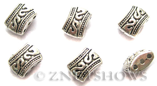 Base Metal Beads <b>11x8mm</b> Antique Silver Tone 3 hole Rectangle Spacers (5-pc-bag) per   <b>5 Bags</b>