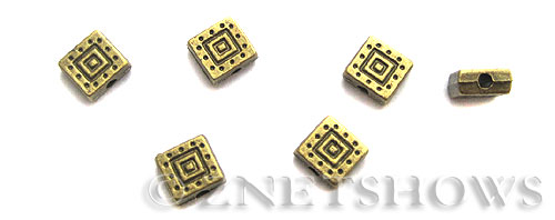 Base Metal Beads <b>6mm</b> Antique Brass Tone double square pattern (15-pc-bag) per   <b>5 Bags</b>