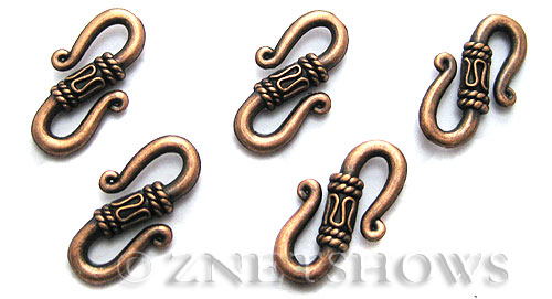 BM Animal Beads <b>22x12mm</b> Antique Copper Tone S shape (8-pc-bag) per   <b>5 Bags</b>