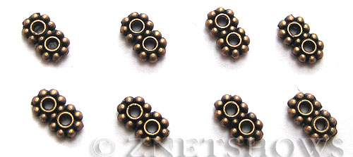 Base Metal Beads <b>7x4mm</b> Antique Copper Tone double Daisy (46-pc-bag) per   <b>5 Bags</b>
