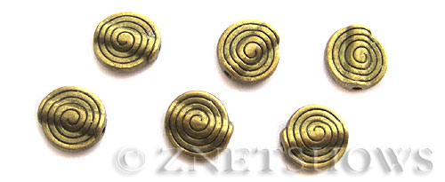 Base Metal Beads <b>11mm</b> Antique Brass Tone spiral pattern (7-pc-bag) per   <b>5 Bags</b>
