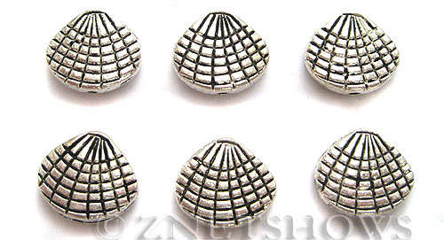BM Sea Life - Shell Charms <b>14x13mm </b> Antique Silver Tone  per   <b>4-pc-bag </b>