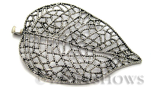 Base Metal Charms <b>80x50mm</b> Antique Silver Tone Lace (1-pc-bag) per   <b>5 Bags</b>