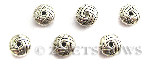 Base Metal Beads <b>10mm</b> Antique Silver Tone braided banding (6-pc-bag) per   <b>5 Bags</b>