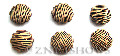 Base Metal Beads <b>13mm</b> Antique Copper Tone Tree Bark  (3-pc-bag) per   <b>5 Bags</b>