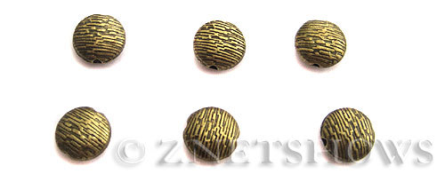 Base Metal Beads <b>10mm</b> Antique Brass Tone Tree Bark Pattern (5-pc-bag) per   <b>5 Bags</b>