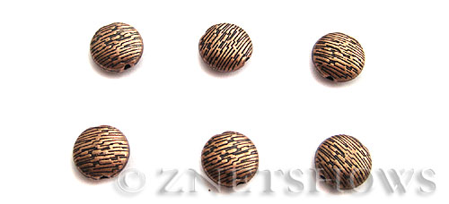 Base Metal Beads <b>10mm</b> Antique Copper Tone Tree Bark Pattern (5-pc-bag) per   <b>5 Bags</b>
