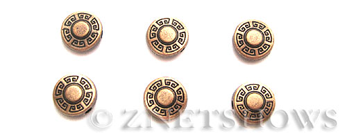 Base Metal Beads <b>9mm</b> Antique Copper Tone Stylized Sun  (10-pc-bag) per   <b>5 Bags</b>