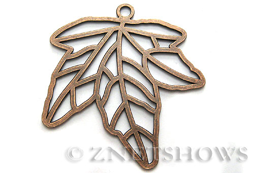 Base Metal Charms <b>67x64mm</b> Antique Copper Tone maple (1-pc-bag) per   <b>5 Bags</b>