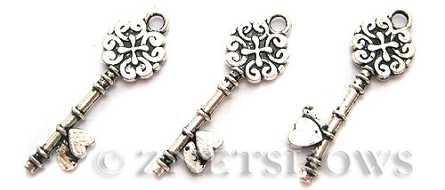 Base Metal Charms <b>35x11mm</b> Antique Silver Tone key per   <b>7-pc-bag</b>