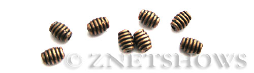 Base Metal Beads <b>6x4mm</b> Antique Copper Tone ring pattern (24-pc-bag) per   <b>5 Bags</b>