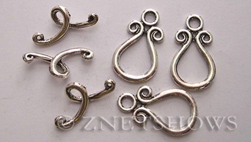 BM Toggle Clasps <b>23x13mm</b> Antique Silver Tone  per   <b>5-set-bag</b>