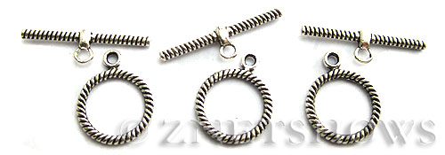 BM Toggle Clasps <b>20x16mm</b> Antique Silver Tone twisted ring  per   <b>7-set-bag</b>