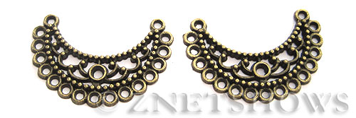 Base Metal Charms <b>35x29mm</b> Antique Brass Tone Crescent (3-pc-bag) per   <b>5 Bags</b>