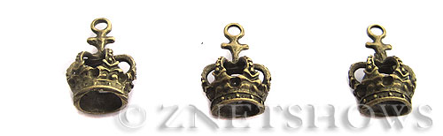 Base Metal Charms <b>21x14mm</b> Antique Brass Tone crown (5-pc-bag) per   <b>5 Bags</b>