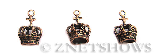 Base Metal Charms <b>21x14mm</b> Antique Copper Tone crown (5-pc-bag) per   <b>5 Bags</b>