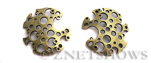 Base Metal Charms <b>30mm</b> Antique Brass Tone Hollow (2-pc-bag) per   <b>5 Bags</b>