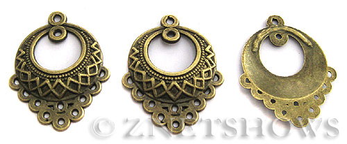 Base Metal Charms <b>33x25mm</b> Antique Brass Tone Flower Basket (4-pc-bag) per   <b>5 Bags</b>