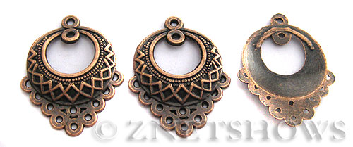Base Metal Charms <b>33x25mm</b> Antique Copper Tone Flower Basket (4-pc-bag) per   <b>5 Bags</b>