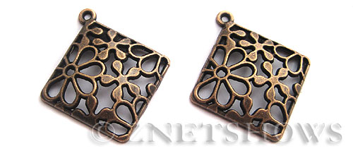 Base Metal Charms <b>38x34mm</b> Antique Copper Tone Flower Pattern (2-pc-bag) per   <b>5 Bags</b>