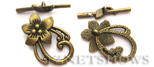 BM Toggle Clasps <b>30x20mm</b> Antique Brass Tone peach flower (2-set-bag) per   <b>5 Bags</b>