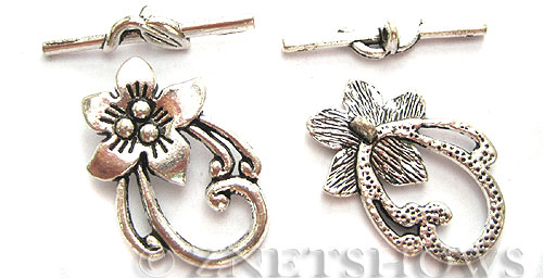 BM Toggle Clasps <b>30x20mm</b> Antique Silver Tone peach flower (2-set-bag) per   <b>5 Bags</b>