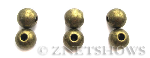Base Metal Beads <b>10mm</b> Antique Brass Tone (4-pc-bag) per   <b>5 Bags</b>