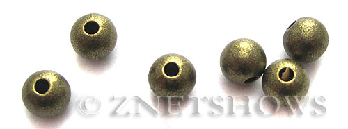 Base Metal Beads <b>6mm</b> Antique Brass Tone matte surface (12-pc-bag) per   <b>5 Bags</b>