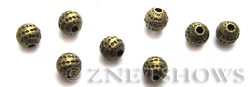 Base Metal Beads <b>6mm</b> Antique Brass Tone dotted  (12-pc-bag) per   <b>5 Bags</b>