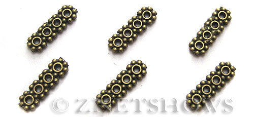 Base Metal Beads <b>13x4mm</b> Antique Brass Tone 4 hole Daisy Spacers(25-pc-bag) per   <b>5 Bags</b>