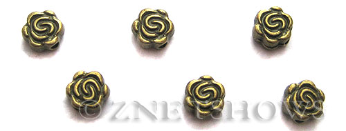 Base Metal Beads <b>6mm</b> Antique Brass Tone rose (23-pc-bag) per   <b>5 Bags</b>