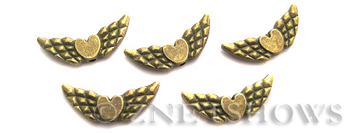 BM Animal Beads <b>22x10mm</b> Antique Brass Tone flying heart (6-pc-bag) per   <b>5 Bags</b>