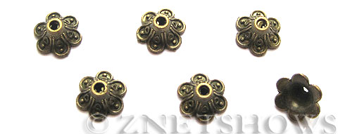 Base Metal Beads <b>9x6mm</b> Antique Brass Tone 6 petal (27-pc-bag) per   <b>5 Bags</b>