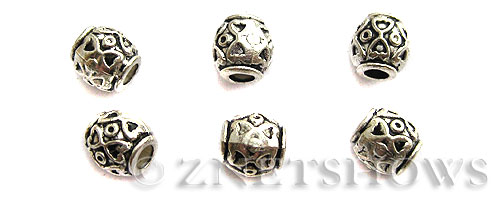Base Metal Beads <b>8mm</b> Antique Silver Tone Heart  (7-pc-bag) per   <b>5 Bags</b>