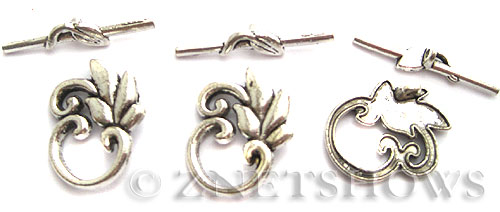 BM Toggle Clasps <b>24x20mm</b> Antique Silver Tone  per   <b>3-set-bag</b>