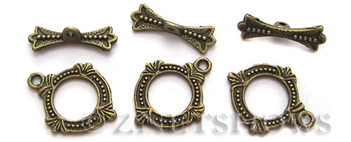 BM Toggle Clasps <b>18x15mm</b> Antique Brass Tone -ring (8-set-bag) per   <b>5 bags</b>