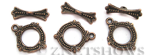 BM Toggle Clasps <b>18x15mm</b> Antique Copper Tone -ring (8-set-bag) per   <b>5 bags</b>