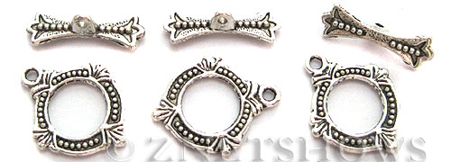 BM Toggle Clasps <b>18x15mm</b> Antique Silver Tone -ring (8-set-bag) per   <b>5 bags</b>