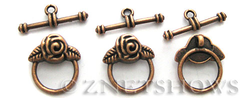 BM Toggle Clasps <b>19x16mm</b> Antique Copper Tone (3-set-bag) per   <b>5 Bags</b>