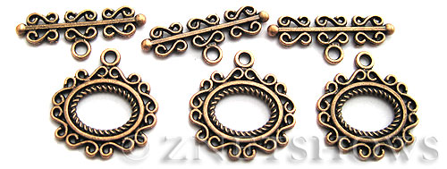 BM Toggle Clasps <b>25mm</b> Antique Copper Tone mirror frame (2-set-bag) per   <b>5 Bags</b>