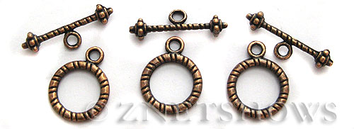 BM Toggle Clasps <b>16x13mm</b> Antique Copper Tone banding ring (8-set-bag) per   <b>5 Bags</b>
