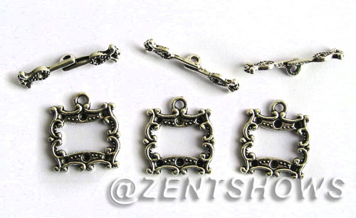 Base Metal Charms <b>31x19mm</b> Antique Silver Tone with Curve (4-pc-bag) per   <b>5 Bags</b>